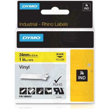 DYMO Ετικέτες RHINO 24m X 5.5Μ Black on Yellow Vinyl 1805431