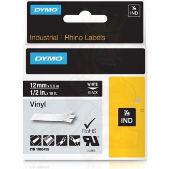 DYMO Ετικέτες RHINO 12mm x 1.5Μ White on Black Vinyl 1805435