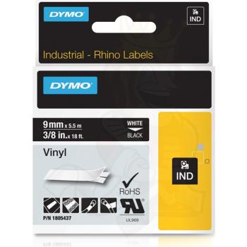 DYMO Ετικέτες RHINO 9mm x 1.5Μ White on Black Vinyl 1805437