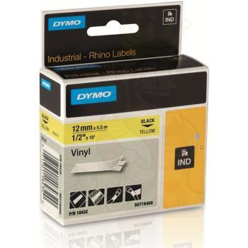 DYMO Ετικέτες RHINO 12mm x 1.5Μ Black on Yellow Vinyl 18432