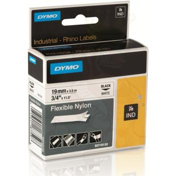 DYMO Ετικέτες RHINO 19mm x 3.5Μ Black on White Flexible Nylon 18489