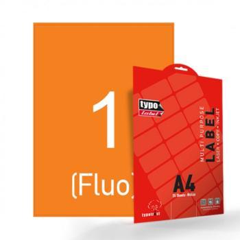 Αυτοκόλλητες ετικέτες Α4/210Χ297mm Fluo Πορτοκαλί 25 Φύλλα