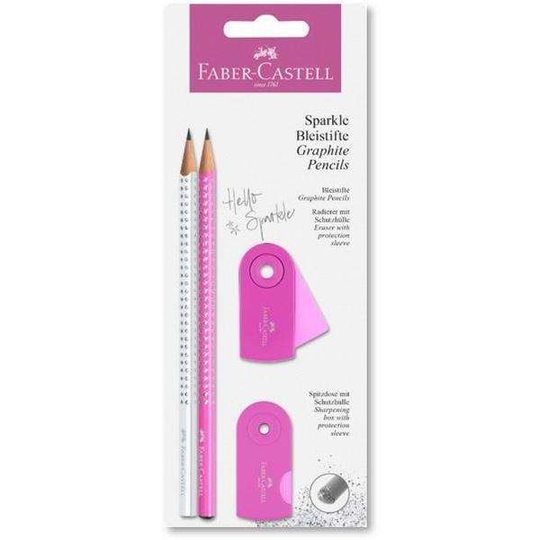 SET FABER CASTELL SPARKLE 218475 WHITE/PINK με 2 μολύβια & 1 γόμα & 1 ξύστρα