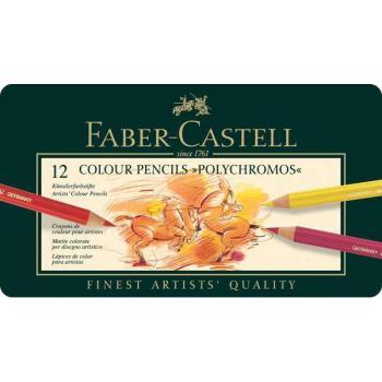 Κασετίνα με πολύχρωμα μολύβια FABER CASTELL POLYCHROMOS 9210 12τεμ METAL