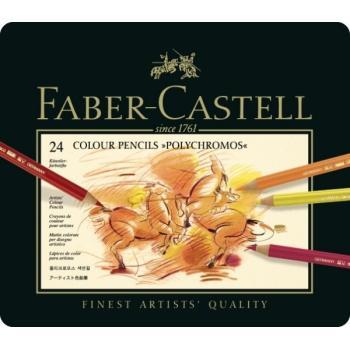 Κασετίνα με πολύχρωμα μολύβια FABER CASTELL 110024 POLYCHROMOS 9212 24τεμ METAL
