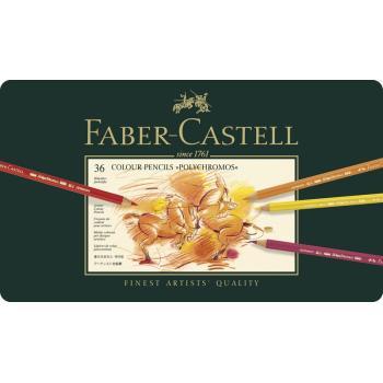 Κασετίνα με πολύχρωμα μολύβια FABER CASTELL 110036 POLYCHROMOS 9213 36τεμ METAL
