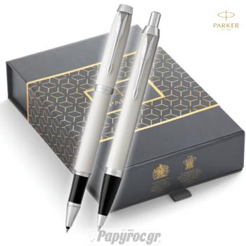 SET GIFTPACK PARKER Στυλό Διαρκείας & Roller Ball NEW I.M PREMIUM CORE WHITE CT