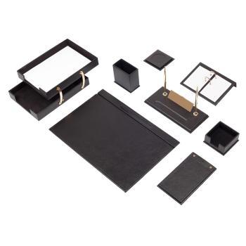 Δερμάτινο Σετ γραφείου Double 10 τεμάχια Μαύρο