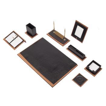 Δερμάτινο Σετ γραφείου με ξύλο Star 10 τεμάχια Μαύρο