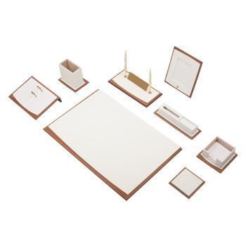 Δερμάτινο Σετ γραφείου με ξύλο Star 10 τεμάχια Λευκό