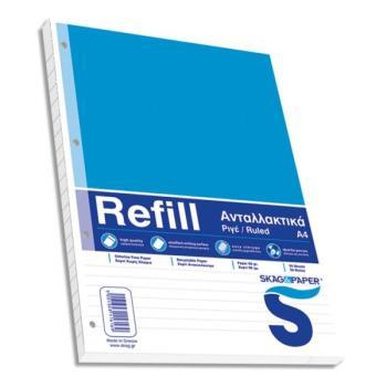 Ανταλλακτικά φύλλα REFILL για ντοσιέ Α4 Ριγέ SKAG 50φ 116169