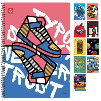 Σχολικά τετράδια σπιράλ TYPOTRUST POP ART 2 Θέματα 17x25 (10 σχέδια)