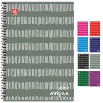 Σχολικά τετράδια σπιράλ TYPOTRUST COLOR STRIPES 2 Θέματα A4 (8 χρώματα)