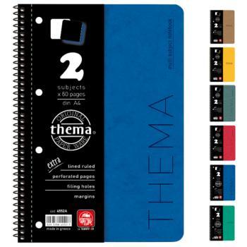 Σχολικά τετράδια σπιράλ TYPOTRUST Thema 2 Θέματα Α4 (6 χρώματα)