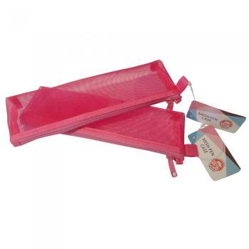 Σχολική κασετίνα TYPOTRUST βαρελάκι με δίχτυ ροζ 10.9 Χ 5.5 Χ 3.0cm