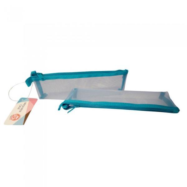 Σχολική κασετίνα TYPOTRUST βαρελάκι με δίχτυ μπλε 10.9 Χ 5.5 Χ 3.0cm