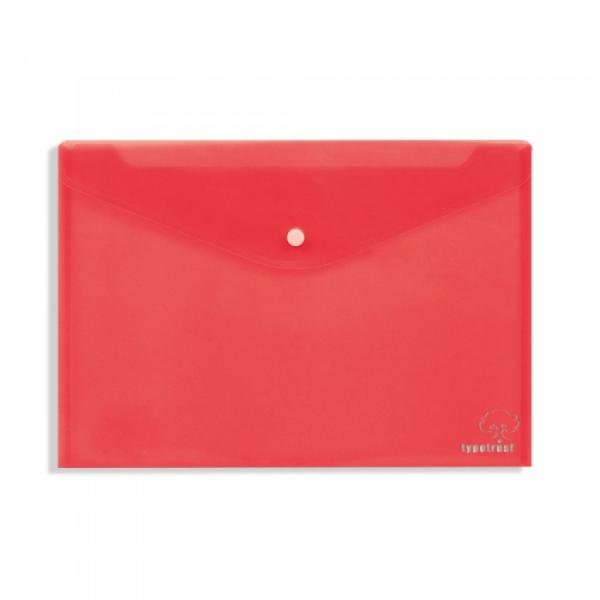 Φάκελος κουμπί TYPOTRUST διαφανής 24x32cm κόκκινος