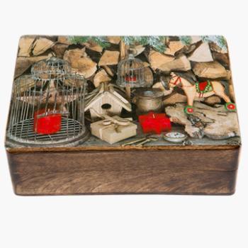 Ξύλινο κουτάκι με διακόσμηση Χριστουγεννιάτικο Αλογάκι 22 X 13 X 7cm