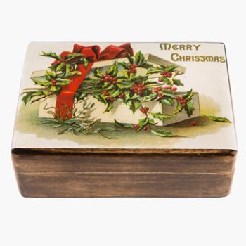 Ξύλινο κουτάκι με διακόσμηση Merry Christmas 22 X 13 X 7cm