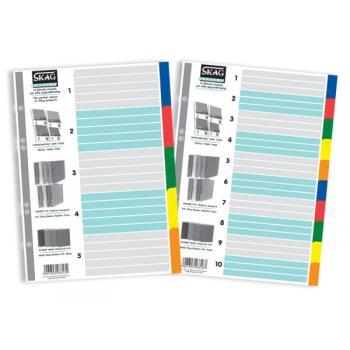 Διαχωριστικά Ευρετήρια P.P. Χρωματιστά Α4 Skag 5 φύλλα